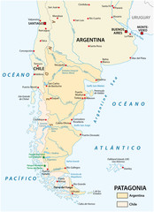 Vector map of Patagonia, the southern part of south America, Chile and Argentina