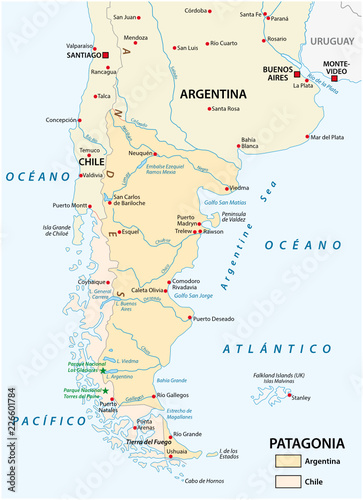 Vector map of Patagonia, the southern part of south America, Chile ...