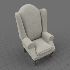 Relaxed fabric wing chair