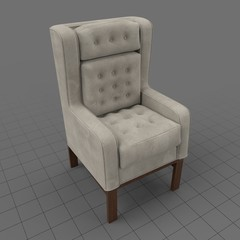 Tufted wing chair 1