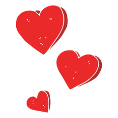 flat color illustration of a cartoon hearts