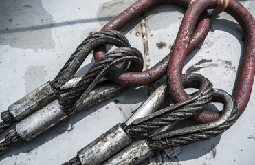 Close up of chains on cargo ship
