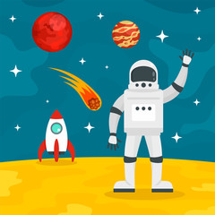 Hello from spaceman concept background. Flat illustration of hello from spaceman vector concept background for web design