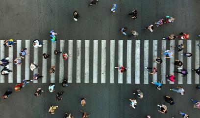 Aerial. Pedestrian crossing. Wall mural