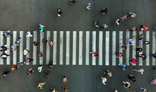 Aerial. Pedestrian crossing.