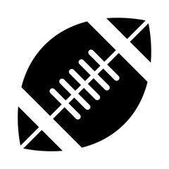 Simple, flat, black silhouette football (American) icon. Isolated on white