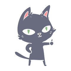 flat color style cartoon cat staring