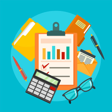 Accounting concept background. Flat illustration of accounting vector concept background for web design