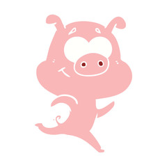 happy flat color style cartoon pig running