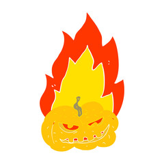 flat color illustration of a cartoon flaming halloween pumpkin