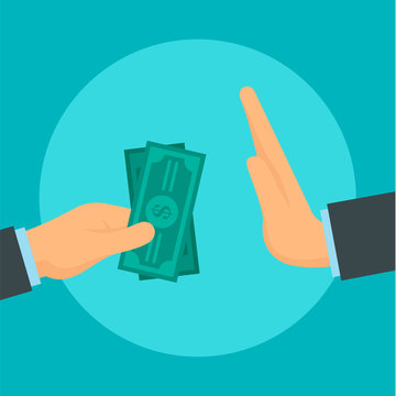 Reject bribery money concept background. Flat illustration of reject bribery money vector concept background for web design