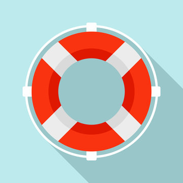 Life buoy solution icon. Flat illustration of life buoy solution vector icon for web design