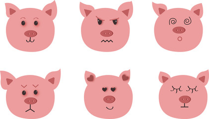 Hand drawn vector illustration of pig - symbol of 2019 new year.