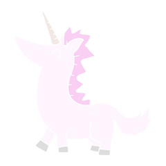 flat color illustration of a cartoon unicorn