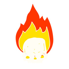 spooky flat color style cartoon flaming skull