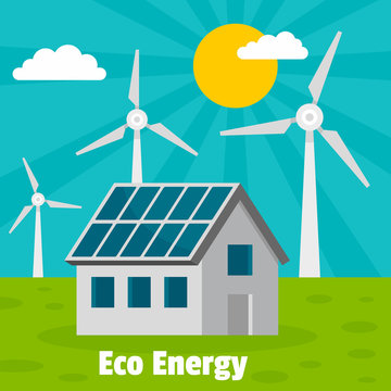 Eco energy home concept background. Flat illustration of eco energy home vector concept background for web design