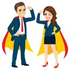 Superhero business man and woman team together with capes arm up power concept