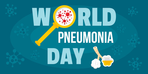 Global pneumonia day banner horizontal. Flat illustration of vector global pneumonia day banner horizontal for web design
