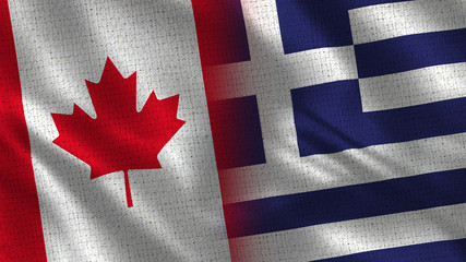 Canada and Greece - 3D illustration Two Flag Together - Fabric Texture