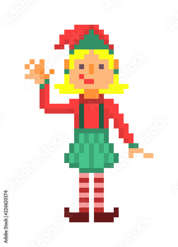 90s Christmas Background.Christmas Elf Waving Pixel Art Character Isolated On White