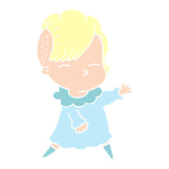 flat color style cartoon squinting girl