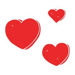 flat color style cartoon love hearts