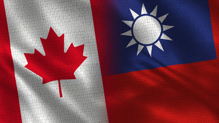 Canada and Taiwan - 3D illustration Two Flag Together - Fabric Texture