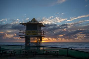 Lifeguard tower at sunrise, Gold Coast Australia
