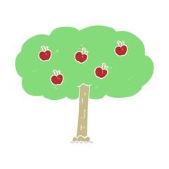 flat color illustration of a cartoon apple tree