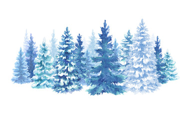 watercolor snowy forest illustration, Christmas fir trees, winter nature, conifer, holiday background, rural landscape, outdoor scene, isolated on white background