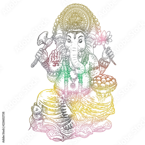 Lord Ganpati Or Ganesha Hand Drawn Vinayaka Chaturthi Or Vinayaka