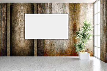 large luxury modern bright interiors with mock up poster frame illustration 3D rendering computer generated image
