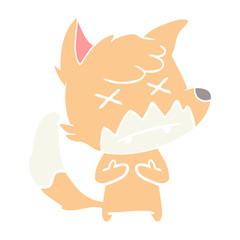 flat color style cartoon cross eyed fox