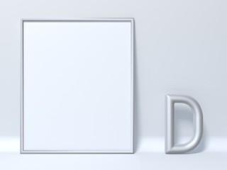 Mock up picture frame Letter D 3D