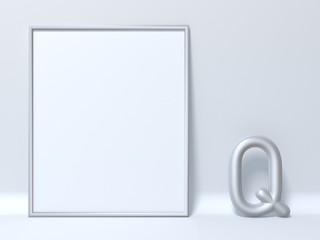 Mock up picture frame Letter Q 3D