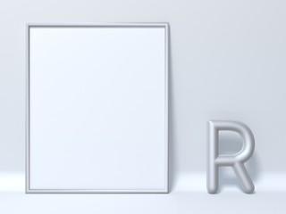 Mock up picture frame Letter R 3D