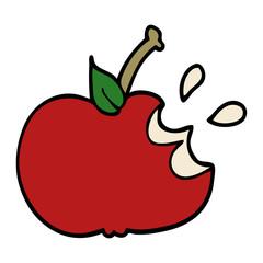 cartoon doodle juicy bitten apple