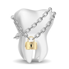 The tooth that is locked. Isolated on white background.