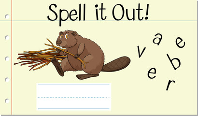 Spell english word beaver