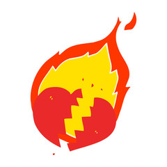 flat color style cartoon flaming heart