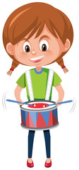 A girl playing drum