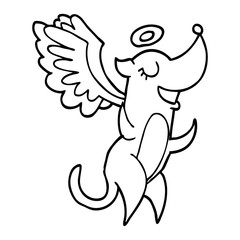 line drawing cartoon angel dog