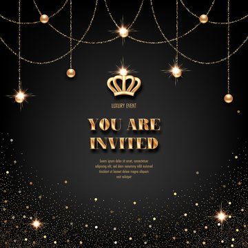 VIP invitation template with golden crown, confetti and sparkling beads on black background