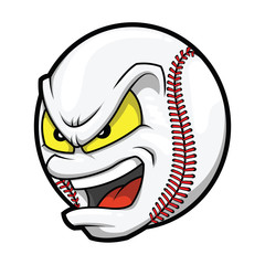 Cartoon Baseball angry face