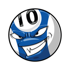 Cartoon pool ball angry face