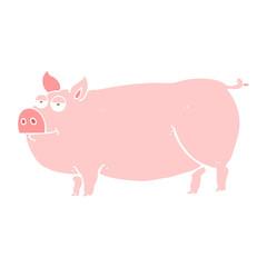flat color illustration of a cartoon huge pig