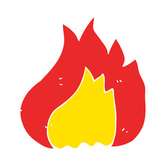 flat color illustration of a cartoon flame