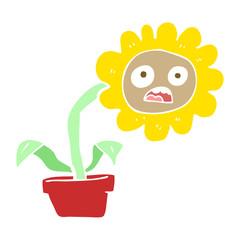 flat color illustration of a cartoon sad flower