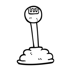 line drawing cartoon gear stick