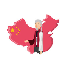 map china with old man isolated icon